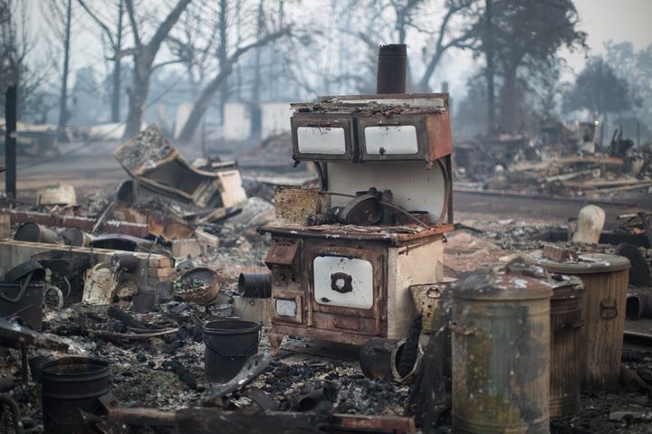 A wood burning stove stands in the ruins of a home that burned in the Valley Fire in Middletown, California, on Sept. 15, 201