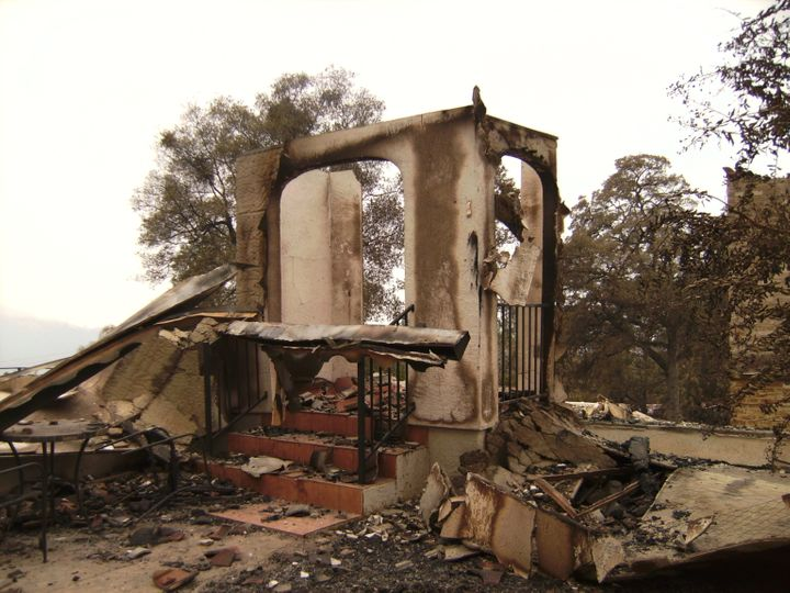The remains of steps at Kim Dougherty's home after it burned to the ground at the Butte Fire in Calaveras County, California,