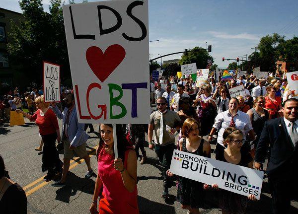 Mormons Building Bridges group leads the annual Gay Pride Parade through downtown Salt Lake City, Sunday, June 3, 2012.