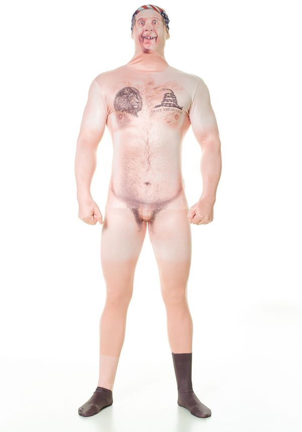 "Whether you live in a red state or a blue one, this <a href=""http://www.halloweencostumes.com/adult-naked-hillbilly-faux-real"