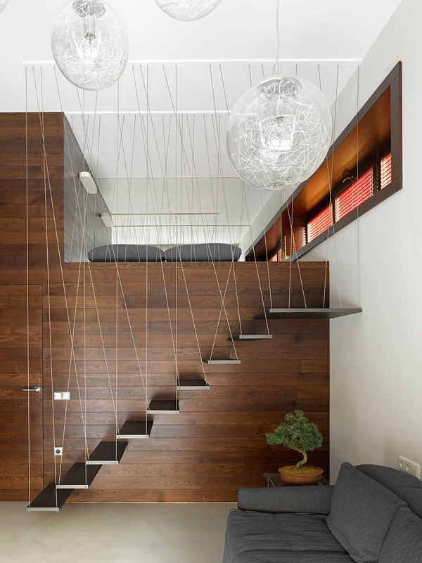 "These hanging stairs by architect <a href=""http://www.fedorova.ru/"">Alexandra Fedorova</a> are a minimalist's dream."