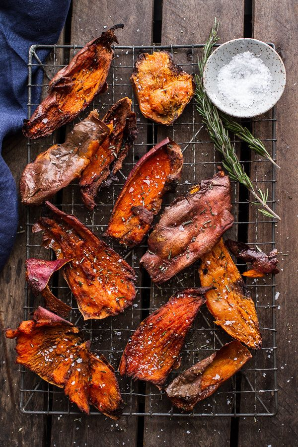 """<strong>Get the<a href=""""http://www.halfbakedharvest.com/simple-salty-sweet-potato-skin-chips/"""">Simple Salty Sweet Potat"""