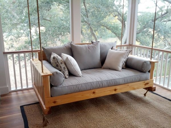 "This <a href=""http://www.theporchswingcompany.com/lowcountry-swing-beds-the-daniel-island-cedar-daybed-swing.html"">swinging d"