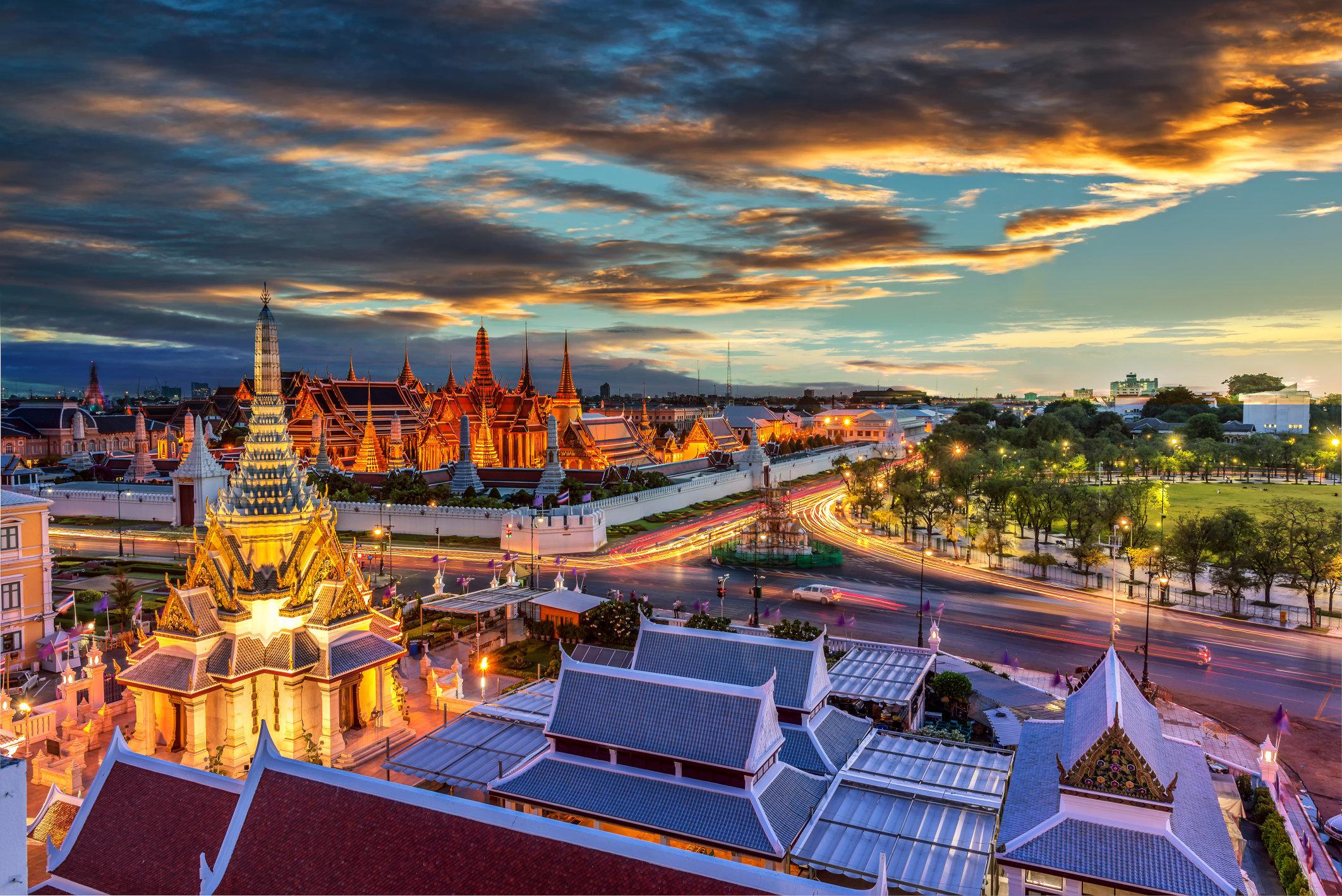 Grand palace and Wat phra keaw at sunset , bangkok Thailand