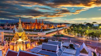 Grand palace and Wat phra keaw at sunset , bangkok Thailand