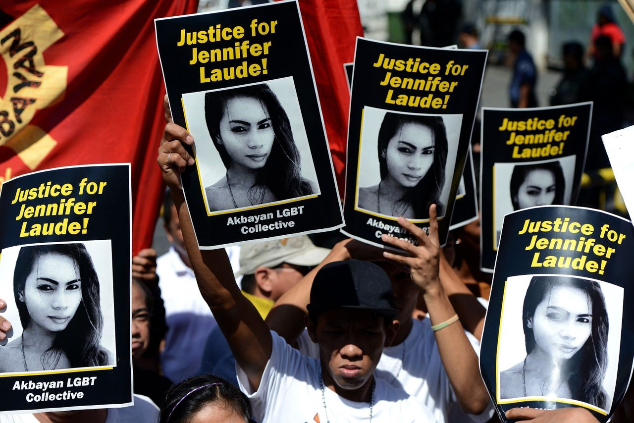 """Protesters call for """"Justice for Jennifer Laude"""" in Olongapo, Philippines on Feb. 23, 2015. Laude was allegedly murdered by a U.S. Marine, who says he """"strangled"""" the woman after discovering that she was transgender."""