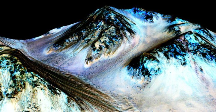 "The dark streaks in this image are known as ""recurring slope lineae"" on the surface of Mars, and they are believed to be evid"