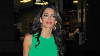 NEW YORK - SEPTEMBER 29: Amal Clooney arrives at Lincoln Center for the New York Film Festival in green on September 29, 2015 in New York, New York.  (Photo by Josiah Kamau/BuzzFoto via Getty Images)