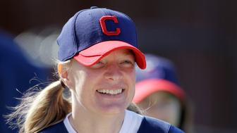 Justine Siegal prepares to throw batting practice to the Cleveland Indians during baseball spring training Monday, Feb. 21, 2011, in Goodyear, Ariz. Siegal became the first woman to pitch batting practice at a Major League camp. (AP Photo/Mark Duncan)