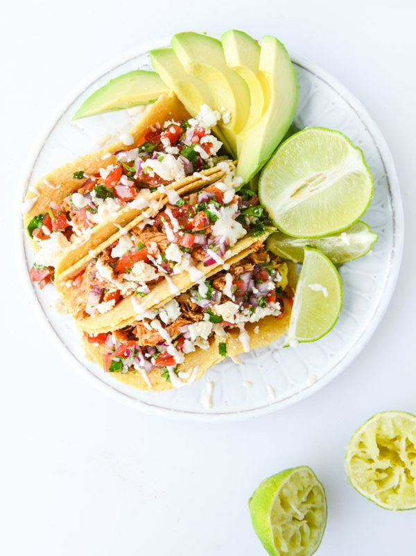 """<strong>Get the<a href=""""http://www.howsweeteats.com/2015/04/easy-weeknight-chicken-tacos/"""">Easy Weeknight Chicken Tacos"""