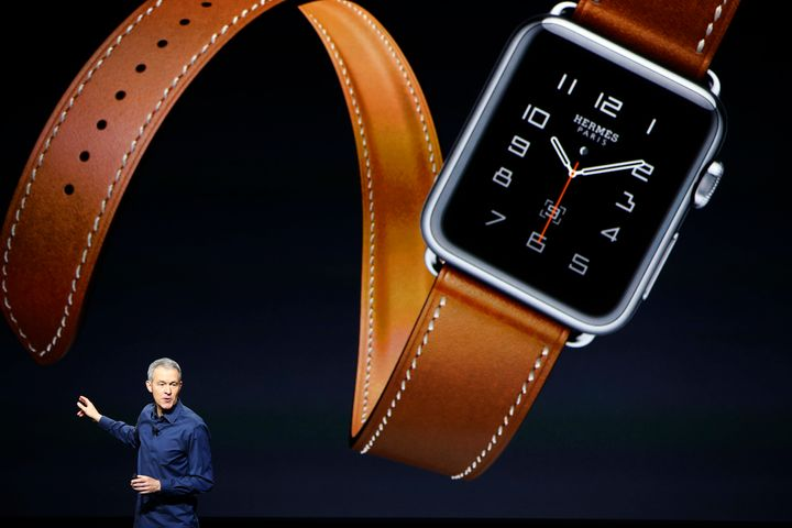 Apple Senior Vice President Jeff Williams speaks about the Apple Watch-Hermes partnership on stage at a special event in San