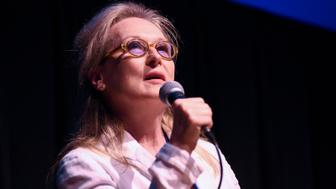 TELLURIDE, CO - SEPTEMBER 05:  (EXCLUSIVE COVERAGE) Actress Meryl Streep speaks on a panel after a screening of 'Suffragette' at the 2015 Telluride Film Festival on September 5, 2015 in Telluride, Colorado.  (Photo by Vivien Killilea/Getty Images)