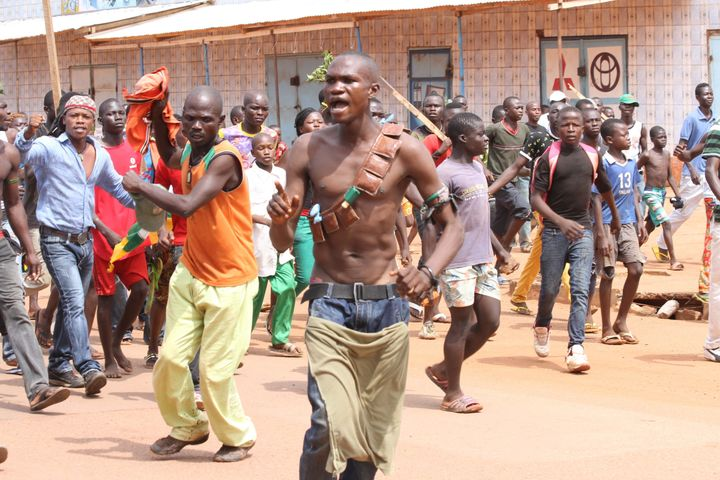 Demonstrators in the Central African capital of Bangui.