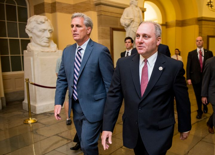 House Majority Leader Kevin McCarthy (left) and other Republicans met Tuesday to discuss the path forward for the House Repub