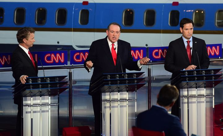 Former Arkansas Gov. Mike Huckabee (center) at the Sept. 16 GOP presidential debate in Simi Valley, California.