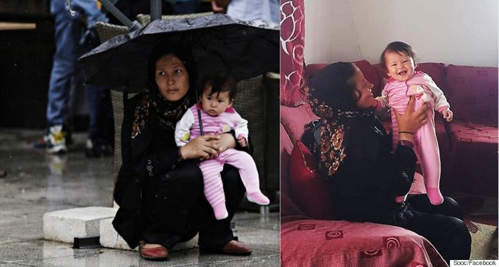 Two photos taken on the same day in the Greek capital highlight the different ways Greeks have reacted to the refugee crisis.