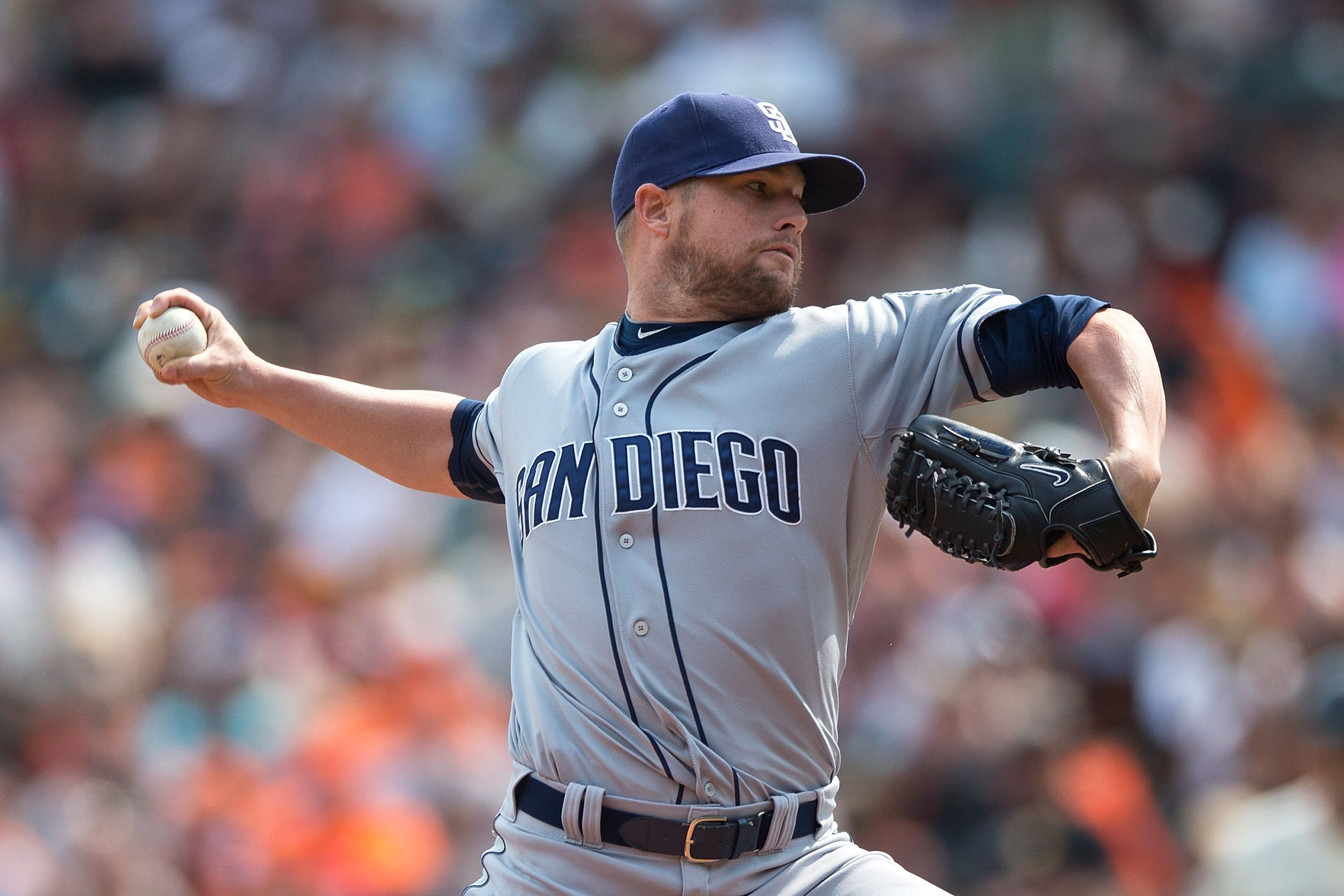 SAN FRANCISCO, CA - SEPTEMBER 13:  Bud Norris #20 of the San Diego Padres pitches against the San Francisco Giants during the fourth inning at AT&T Park on September 13, 2015 in San Francisco, California.  The San Francisco Giants defeated the San Diego Padres 10-3. (Photo by Jason O. Watson/Getty Images)