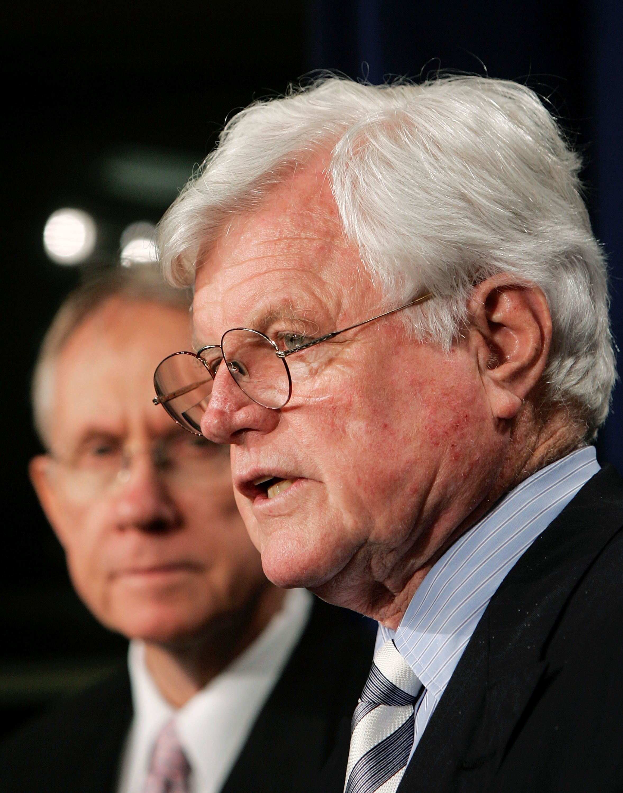 WASHINGTON - JUNE 23:  U.S. Sen. Ted Kennedy (D-MA) speaks with Senate Majority Leader Harry Reid (D-NV) during a news conference urging President George W. Bush to consult the Senate regarding any nominations to the Supreme Court June 23, 2005 in Washington, DC. Speculation continues that Supreme Court Chief Justice William Rehnquist may step down at the end of the Supreme Court's current session.  (Photo by Win McNamee/Getty Images)
