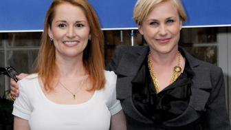 "MANHATTAN BEACH, CA - AUGUST 27: Allison DuBois and Patricia Arquette celebrate the 100th Episode of ""Medium"" at Raleigh Studios in Manhattan Beach, California on August 27, 2009.  (Photo by Gregg DeGuire/FilmMagic)"