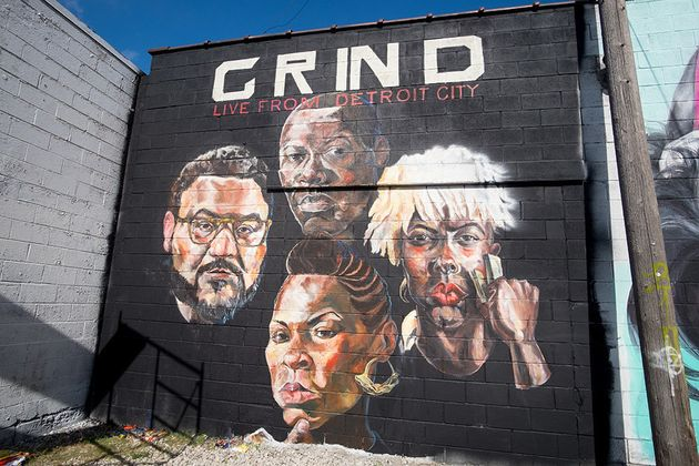 """<span class='image-component__caption' itemprop=""""caption"""">Sydney James depictedherself and threepeers in her mural.</span>"""