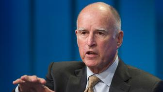 LOS ANGELES, CA - APRIL 29:  California governor Jerry Brown talks about new efforts to cope with climate change during a panel discussion at the 18th annual Milken Institute Global Conference on April 29, 2015 in Beverly Hills, California. The governor issued an executive order today to cut greenhouse gas emissions by 40 percent compared with 1990 levels, making California's efforts to reduce greenhouse gas emissions the most stringent in North America.  (Photo by David McNew/Getty Images)