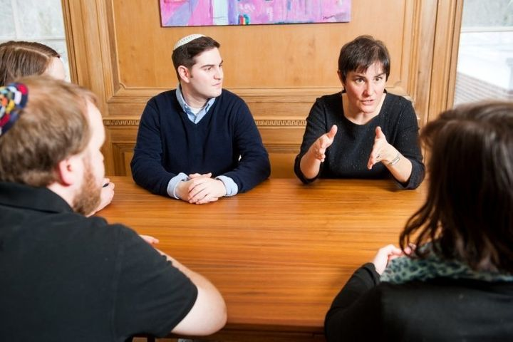 Reconstructionist Rabbinical College President Deborah Waxman, center right, speaks with students.