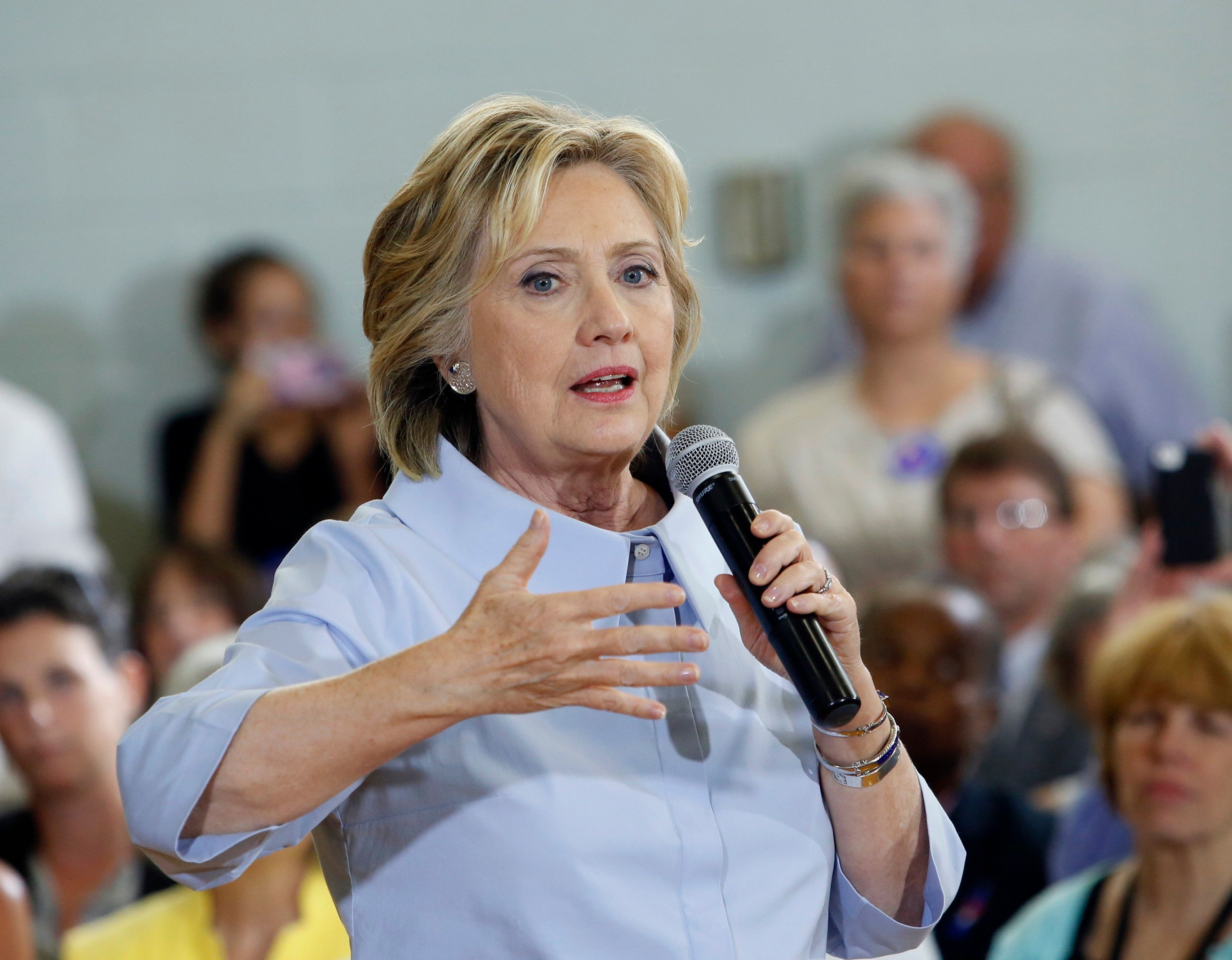 PORTLAND, ME - SEPTEMBER 18: Hillary Clinton brings her Democratic presidential campaign to Maine for the first time, speaking at King Middle School. (Photo by Derek Davis/Portland Press Herald via Getty Images)