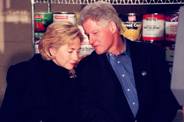 Then-president Bill Clinton and first lady Hillary Clinton on Dec. 21, 1998, just two days after his impeachment. T