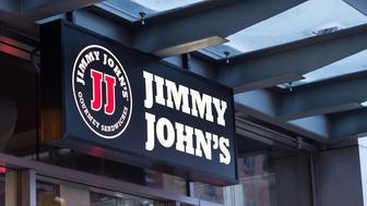Jimmy John's store sign and logo in Philadelphia, PA