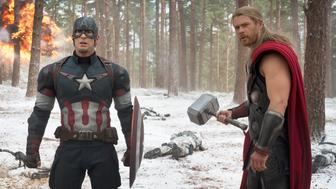 Marvel's Avengers: Age Of Ultron..L to R: Captain America/Steve Rogers (Chris Evans) and Thor (Chris Hemsworth)..Ph: Jay Maidment..?Marvel 2015