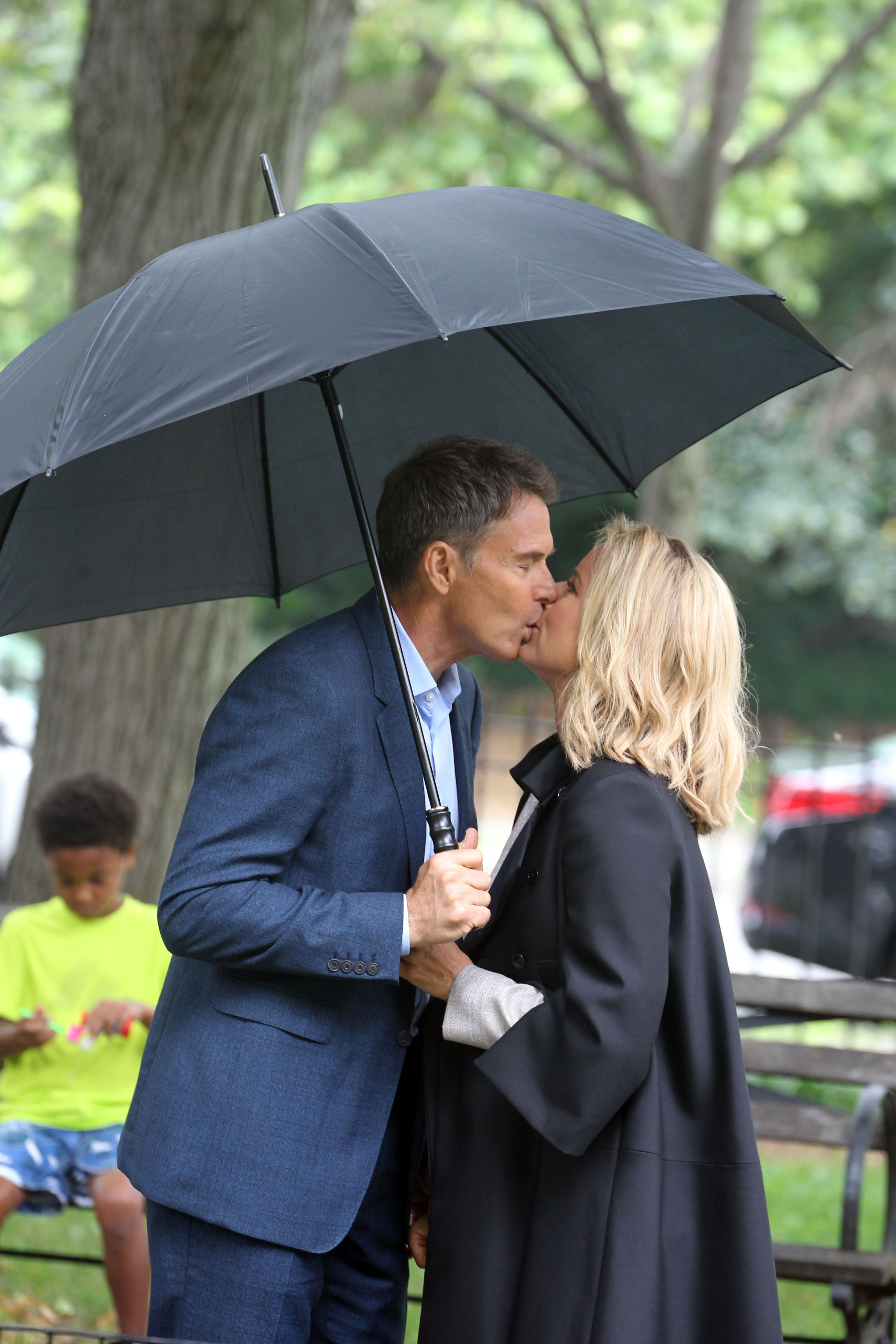 NEW YORK, NY - JULY 09:  Tea Leoni, Tim Daly real life couple playing married couple filming CBS-TV's 'Madame Secretary.' on July 9, 2015 in New York City.  (Photo by Steve Sands/GC Images)