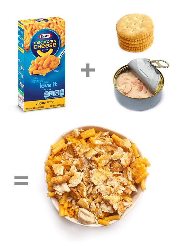 Mix one can of tuna with warm mac and cheese. Serve in a bowl and top with crumbled Ritz crackers. Bonus if you saute those c