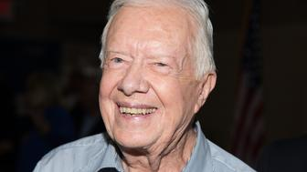 RIDGEWOOD, NJ - JULY 08:  Former President of the United States Jimmy Carter signs copies of 'A Full Life Reflections At Ninety' at Bookends Bookstore on July 8, 2015 in Ridgewood, New Jersey.  (Photo by Dave Kotinsky/Getty Images)