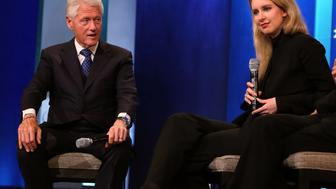NEW YORK, NY - SEPTEMBER 29: Bill Clinton and Elizabeth Holmes attend the 2015 Clinton Global Initiative Closing Plenary at Sheraton Times Square on September 29, 2015 in New York City.  (Photo by Taylor Hill/FilmMagic)