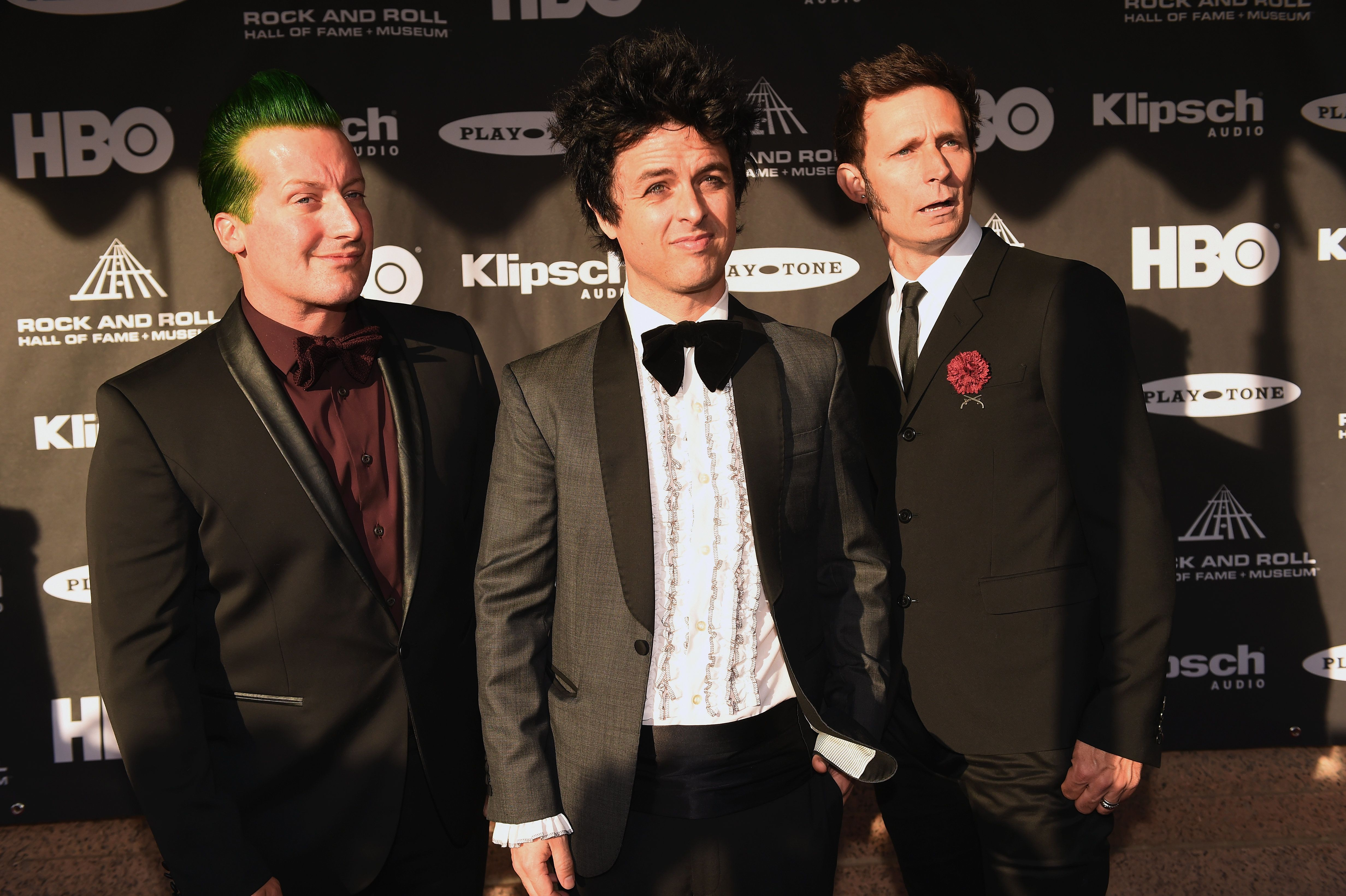 CLEVELAND, OH - APRIL 18:  (L-R) Musicians Tre Cool, Billie Joe Armstrong and Mike Dirnt of Green Day attend the 30th Annual Rock And Roll Hall Of Fame Induction Ceremony at Public Hall on April 18, 2015 in Cleveland, Ohio.  (Photo by Jeff Kravitz/FilmMagic)