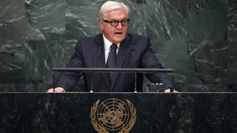 German Foreign Minister Frank-Walter Steinmeier addresses the 70th Session of the United Nations General Assembly at the UN in New York on October 1, 2015. AFP PHOTO/JEWEL SAMAD        (Photo credit should read JEWEL SAMAD/AFP/Getty Images)