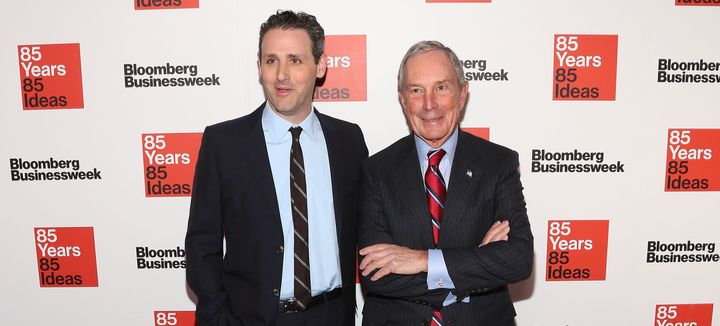 Founder Michael Bloomberg (right) expressed support for his company's political site. He's pictured with Bloomberg Media Chie
