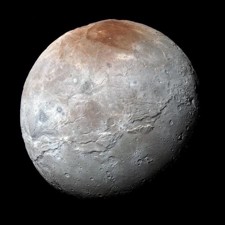 This image of Charon was captured by NASA's New Horizons spacecraft on July 14, 2015. The colors have been processed to highl