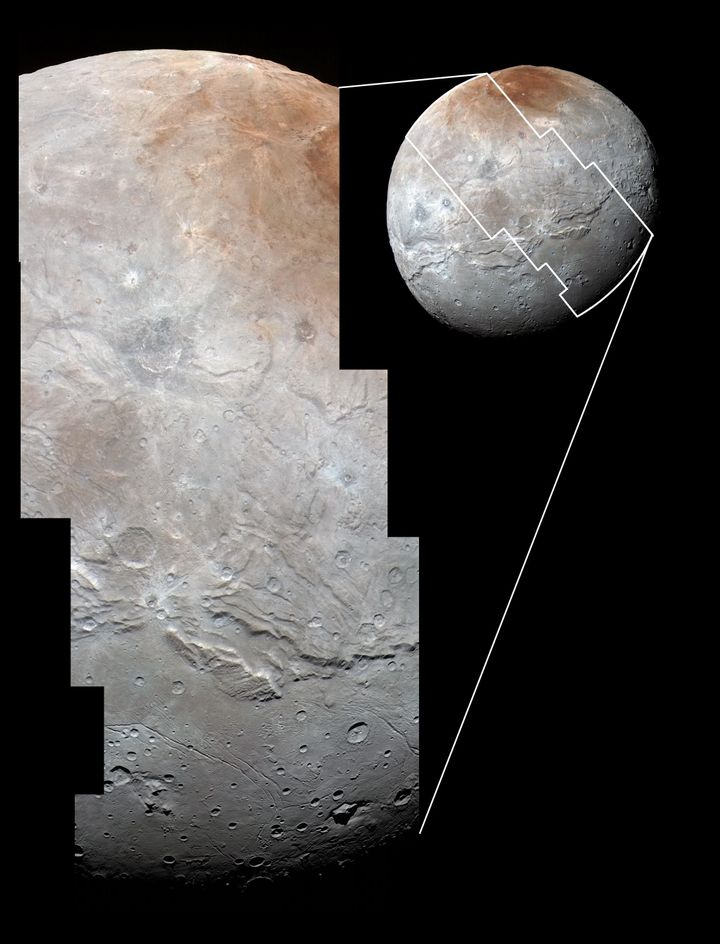 High-resolution images of Charon were taken by NASA's New Horizons spacecraft on July 14, 2015, and overlaid with enhanced co