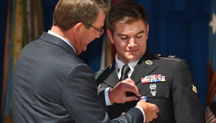Oregon Army National Guardsman specialist Alek Skarlatos received the Soldier's Medal for helping to stop a gunman on a