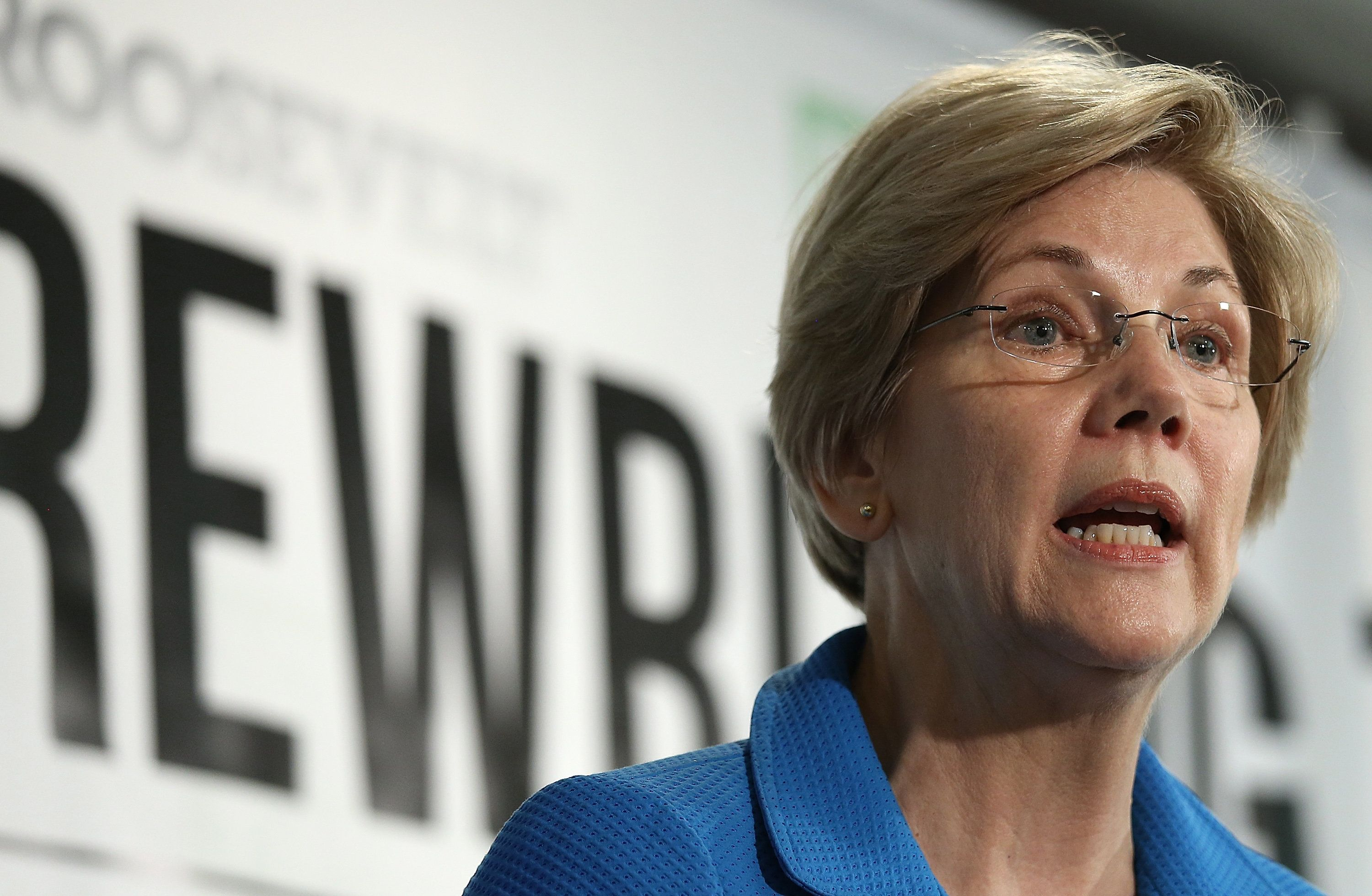 WASHINGTON, DC - MAY 12:  Sen. Elizabeth Warren (D-MA) speaks about the release of a new report authored by Nobel-prize winning economist Joseph Stiglitz published by the Roosevelt Institute May 12, 2015 in Washington, DC. The report, titled 'New Economic Agenda for Growth and Shared Prosperity', discusses the current distribution of wealth in the U.S. and offers proposals for modifying that distribution.  (Photo by Win McNamee/Getty Images)