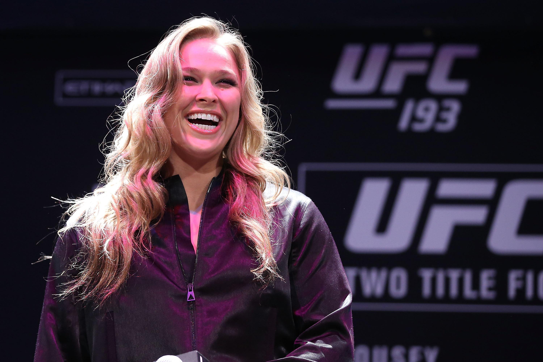SYDNEY, AUSTRALIA - SEPTEMBER 17:  Ronda Rousey speaks during a UFC 193 Sydney Fan Event on September 17, 2015 in Sydney, Australia.  (Photo by Brendon Thorne/Zuffa LLC/Zuffa LLC via Getty Images)