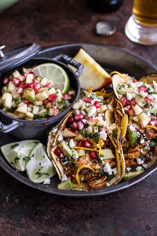 """<strong>Get the <a href=""""http://www.halfbakedharvest.com/spicy-cider-beer-braised-chicken-enchilada-tacos-wsweet-chili-apple-"""