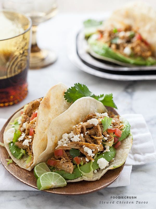 "<strong>Get the<a href=""http://www.foodiecrush.com/2013/04/stewed-chicken-tacos/"" target=""_blank""> Stewed Chicken Tacos recip"