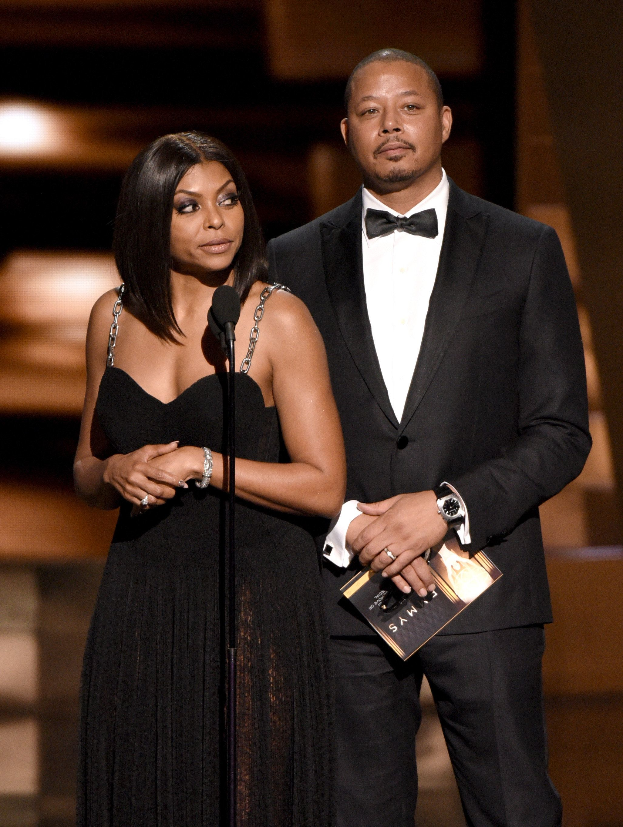 LOS ANGELES, CA - SEPTEMBER 20:  Actors Taraji P. Henson (L) and Terrence Howard speak onstage during the 67th Annual Primetime Emmy Awards at Microsoft Theater on September 20, 2015 in Los Angeles, California.  (Photo by FOX/FOX Collection/Getty Images)