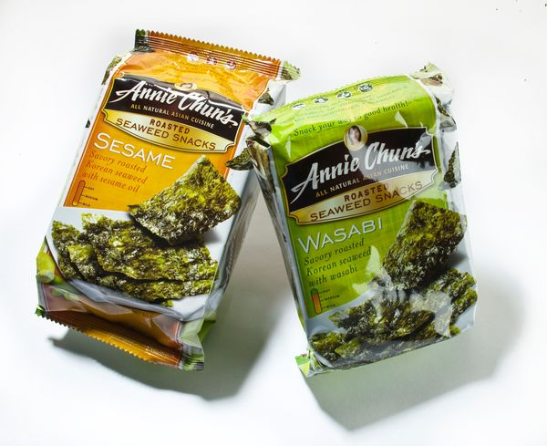 When a salt craving hits, dried seaweed can help. These packs arelow in calories and provide a nice crunch for when you