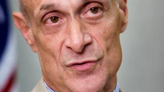 Homeland Security Secretary Michael Chertoff speaks during an interview with The Associated Press, Friday, June 13, 2008, in Washington. (AP Photo/Haraz N. Ghanbari)