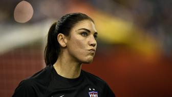 USA goalkeeper Hope Solo reacts during the semi-final football match between USA and Germany during their 2015 FIFA Women's World Cup at the Olympic Stadium in Montreal on June 30, 2015. AFP PHOTO / FRANCK FIFE        (Photo credit should read FRANCK FIFE/AFP/Getty Images)