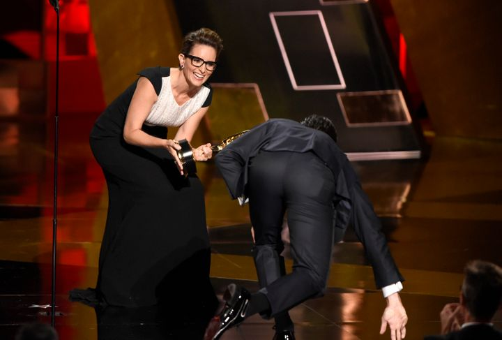 Tina Fey, pictured here with Jon Hamm's butt.