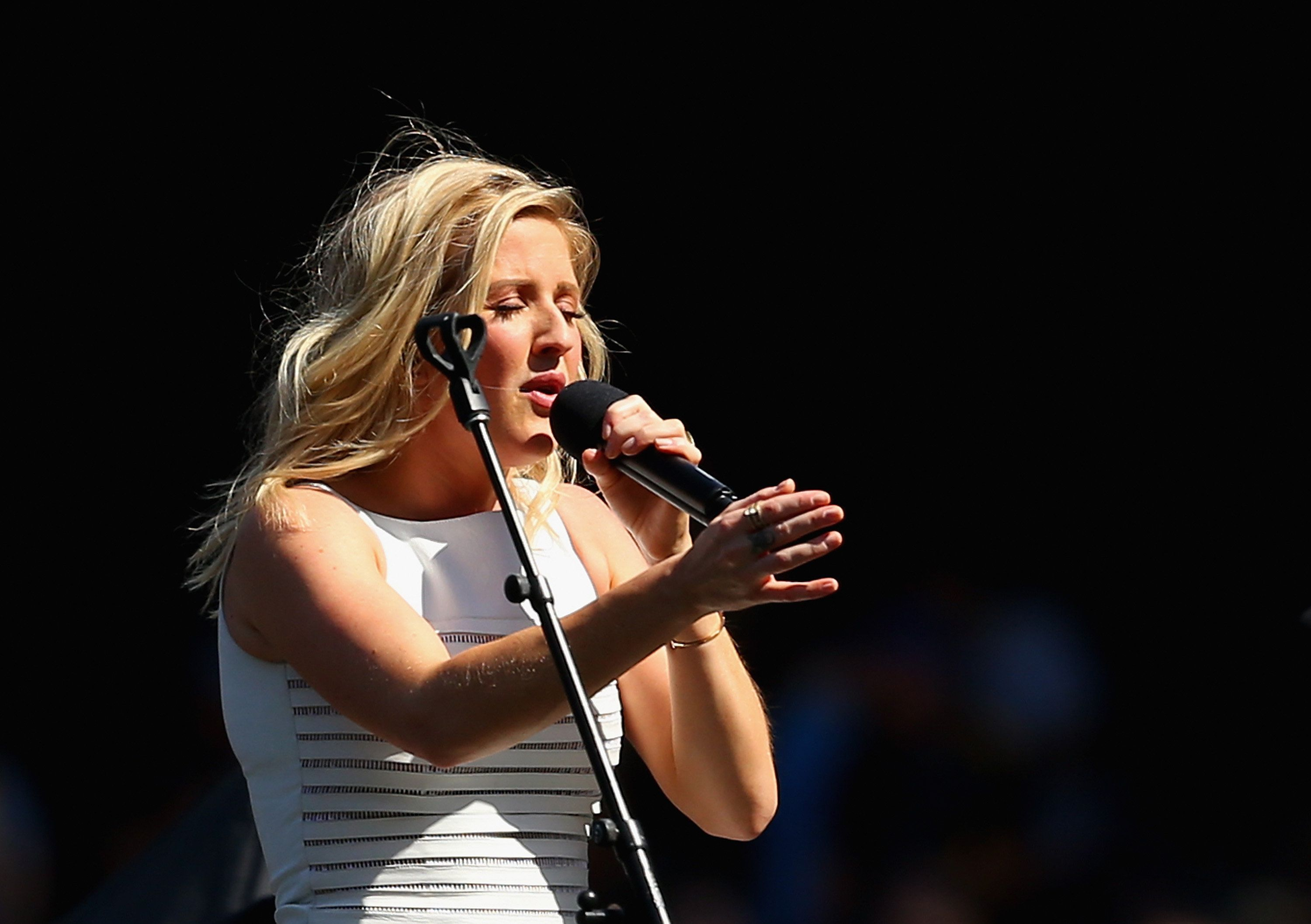 MELBOURNE, AUSTRALIA - OCTOBER 03:  Ellie Goulding performs during the 2015 AFL Grand Final match between the Hawthorn Hawks and the West Coast Eagles at Melbourne Cricket Ground on October 3, 2015 in Melbourne, Australia.  (Photo by Quinn Rooney/Getty Images)